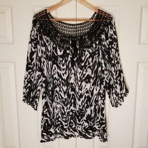 Lane Bryant Zebra Print Lace Yoke Tunic